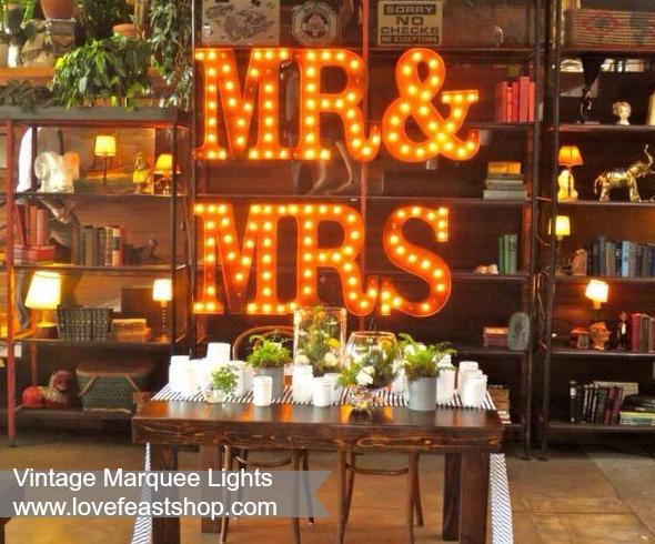 MR&Mrs Vintage Marquee Lights http://www.lovefeastshop.com