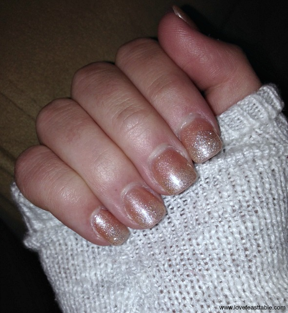 French Nouveau Glitter Nails www.lovefeasttable.com
