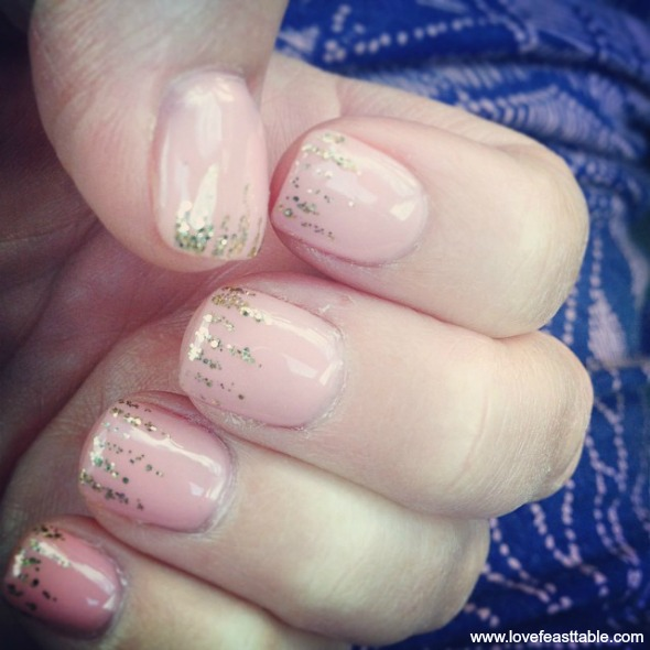 French Nouveau Glitter Tipped Nails www.lovefeasttable.com