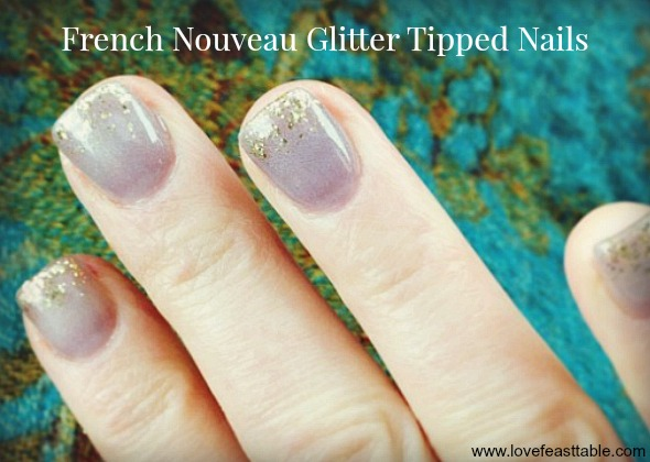 French Nouveau Gold Tipped Nails www.lovefeasttable.com