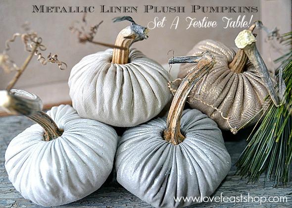 Festive Linen Pumpkins www.lovefeastshop.com