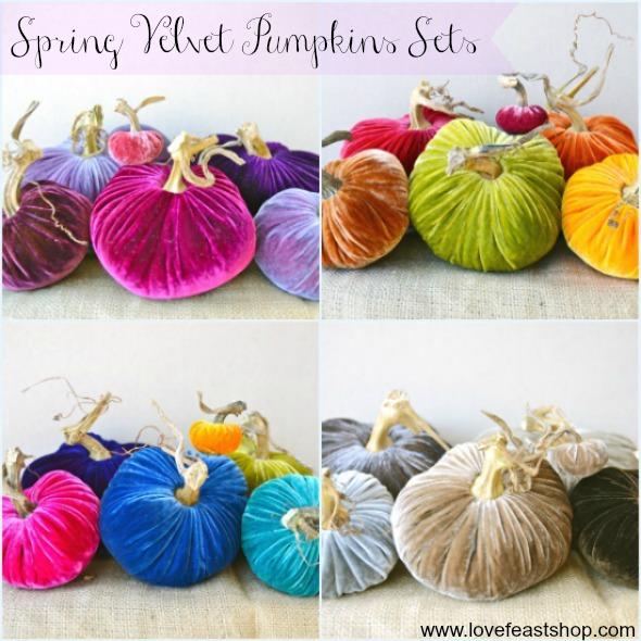 Spring Velvet Pumpkins Sets www.lovefeastshop.com