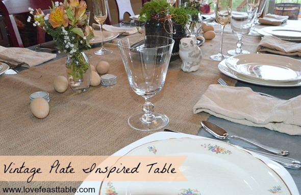 Vintage Plate Inspired Table www.lovefeasttable.com