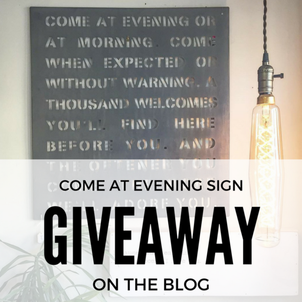 Come at evening sign